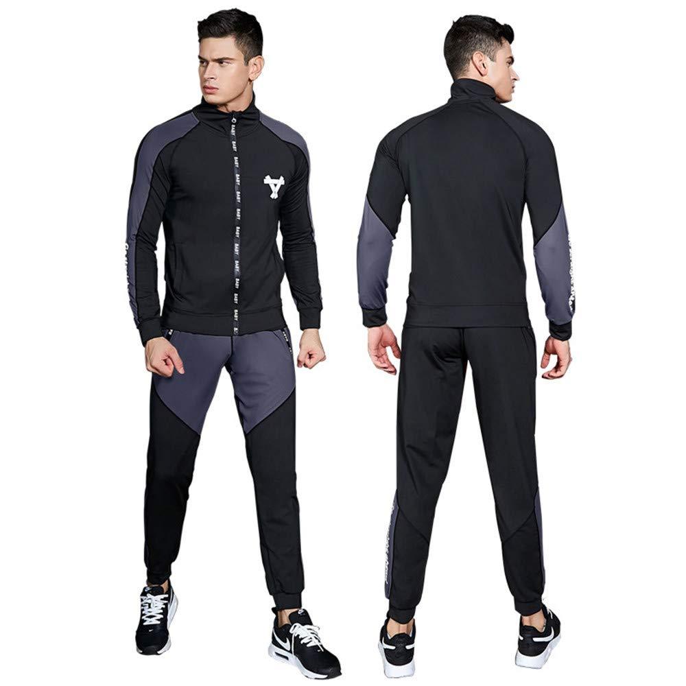 Wuxingqing Gym Wear Fitness Bekleidung Set Männer Anzug Workout Schweiß Anzug Gewichtsverlust Abnehmen Fitness Gym Übung (Color : Black, Size : M)