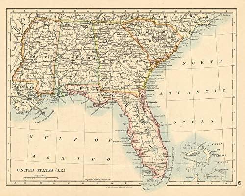 Amazon Com Usa Deep South Florida South Carolina Georgia Alabama Mississippi Usa 1892 Old Map Antique Map Vintage Map Printed Maps Of Usa Posters Prints