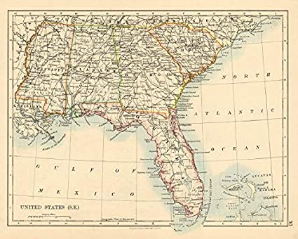 Amazon.com: USA DEEP South Florida South Carolina Georgia ... on united states at night from space, united states map of south america and canada, united states map with north south east west, united states map with mississippi river, county map with mississippi,