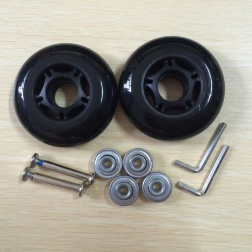 75X23mm Black Luggage Suitcase / Inline Outdoor Skate Replacement Wheels with ABEC 608zz Bearings ()