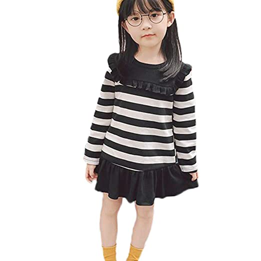 5aa44bdce0e9 Amazon.com  SUNBIBE👻Autumn Baby Kid Girls Long Sleeve Dress Cotton ...