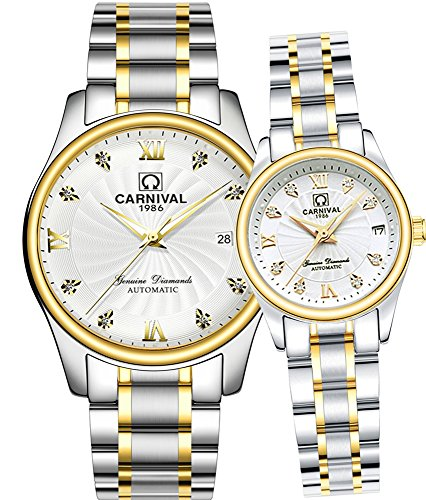 CARNIVAL Mechanical Couple Watches Men and Women His or Hers Gift Set of 2 (Gold White) by Carnival