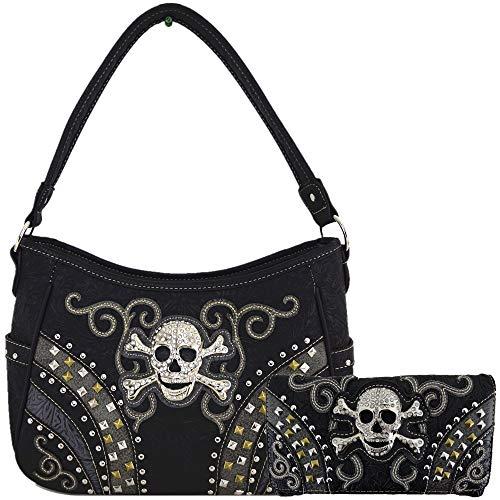 Punk Art Cross Skull Rivet Studs Concealed Carry Purses Country Western Handbags Shoulder Bags Wallet Set (Black Set)