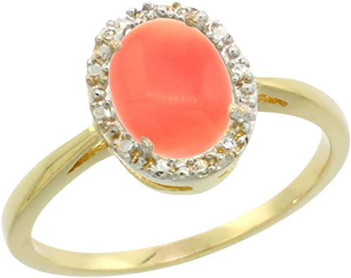 14K Yellow Gold Coral Ring Size 8.5