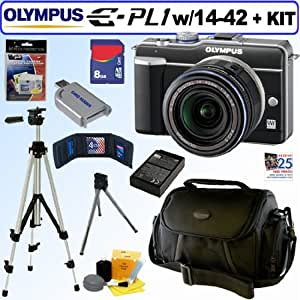 Olympus PEN E-PL1 12.3MP Live MOS Micro Four Thirds Interchangeable Lens Digital Camera with 14-42mm f/3.5-5.6 Zuiko Digital Zoom Lens (Black) + 8GB Deluxe Accessory Kit