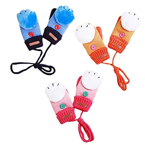 COFFLED Random Color 3 Pairs Cute Animal Paw Winter Toddler Mittens Boys and Girls, 3-10 Years Kids Gloves Knit Pack Sales for Snow and Ski