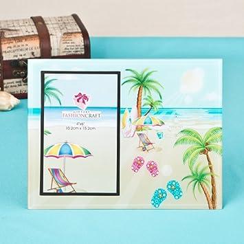 Amazoncom 12 Lovely Flip Flop Palm Trees Beach Themed Glass