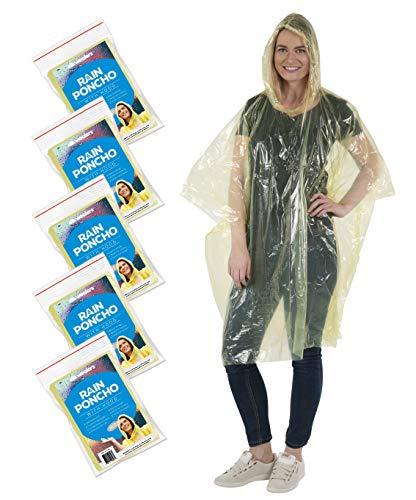 Wealers Rain Poncho for Adults – Thick Disposable Rain Ponchos Raincoat for Women & Men, One Size Fits All – Emergency Poncho for Theme Parks, Camping, Outdoors & More – Multi Colors ()
