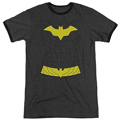 Batman New Batgirl Costume Mens Adult Heather Ringer Shirt Charcoal (New Batman Affleck Costume)