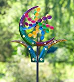 Wind & Weather KA7016 Outdoor Crescent Cup Metal Garden Wind Spinner, Multi-Colored