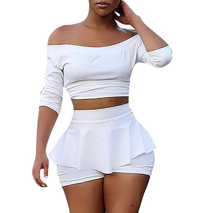 0d431dac266 Xiaojmake Women s Slash Neck Short Top Ruffle Half Sleeve White T-Shirt  Shorts Set