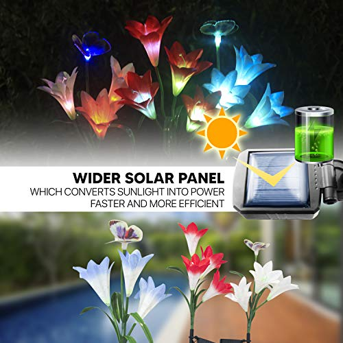 ONM Outdoor Solar Lights – Decorative Led Flowers for Patio and Garden – 3 pcs Solar Lilly Light with Iron Stakes – 12 Multi-Colored Changing Led Lights – Waterproof IP65 Solar Flowers with Butterfly