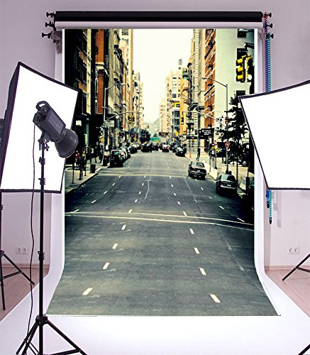 Famous City Street Landscape Backdrop 3x5FT Laeacco Vinyl Thin Photography Backgrounds Photo Backdrop New York Road Car Buildings Scene 1(w) x1.5(h) m Studio -