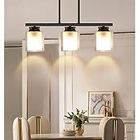 Depuley 3-Light Pendant Light Fixture, Metal Kitchen Island Lighting with Glass Shade, Industrial Farmhouse Flush Mount…