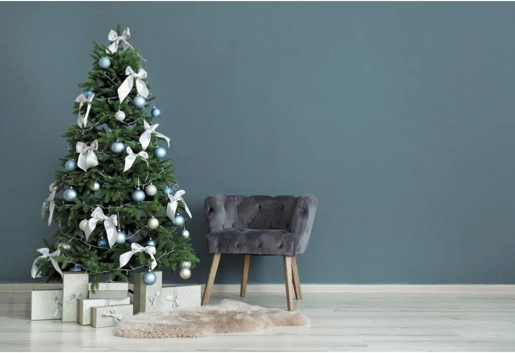 Leowefowa Indoor Xmas Tree Grey Sofa Retro Grey Blue Wall Backdrop for Photography 10x8ft Christmas Background Christmas Party Banner Child Baby Photo Shoot Studio Props Wallpaper