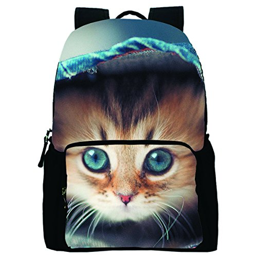 Belastry Funny Cat Printed Personalized Denim Book Bag Casual Backpack Daypack for School (Cool Anime Bookbag compare prices)