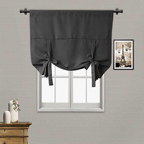 - Rose Home Fashion Thermal Insulated Blackout Balloon Curtain for Small Window - Rod Pocket - Adjustable Tie-up, Balloon Shade Curtains (Dark Grey-42 by 63 Inches)