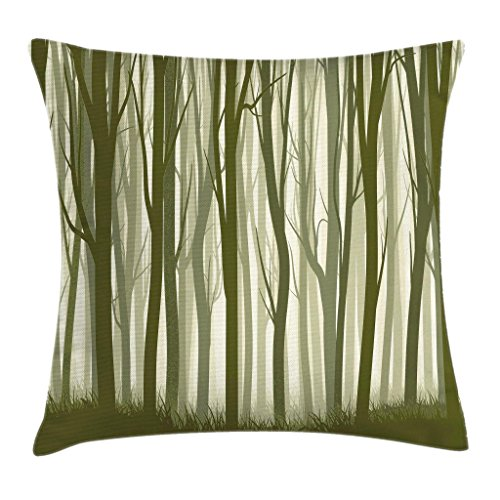 Ambesonne Apartment Decor Throw Pillow Cushion Cover, Mother Nature Theme Illustration of Mystic Forest with Trees, Decorative Square Accent Pillow Case, 18 X 18 Inches, Army Green and Sage Green