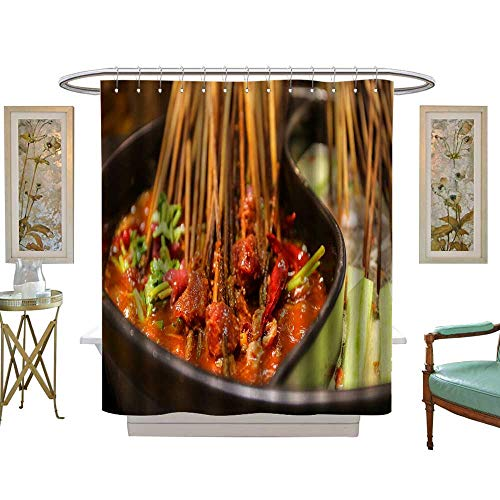 luvoluxhome Shower Curtains Waterproof Beef Steak Served on a Sizzling Iron Plate Fabric Bathroom Decor Set with Hooks W72 x L72
