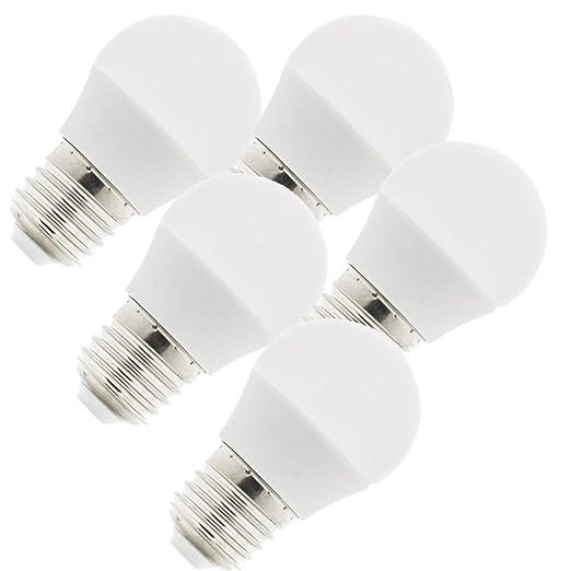 KHEBANG Bombilla LED E27 G45 9W Luz Amarilla Cálida Pack de 5 Unidades