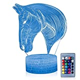 3D Illusion Horse Head Draw Portrait Night Lamp with Remote Control, 7 Color Change, Touch White Base, Power by AA Batteries