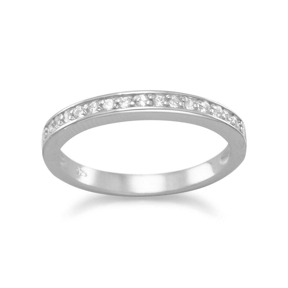 Rhod. P. Argent sterling mince Bague Oxyde de Zirconium sur Top 2mm de large–Taille N 1/2 JewelryWeb AIR355964SS