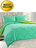 Alternative Comforter - Celine Linen Luxury All Season Light Weight Down Alternative Reversible 3-Piece Comforter Set - HypoAllergenic, Diamond Stitched, King, Aqua/Lime