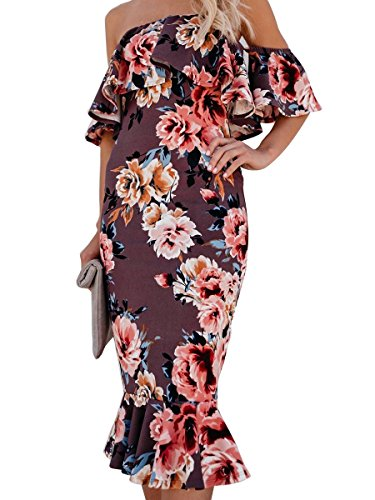 Imprimé Floral Féminin En Mode Ca Hors Robe D'été Midi Épaule Violet
