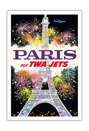 Pacifica Island Art Paris, France - Trans World Airlines Fly TWA Jets - Fireworks at Eiffel Tower - Vintage Airline Travel Poster by David Klein c.1960s - Fine Art Print - 30in x 44in