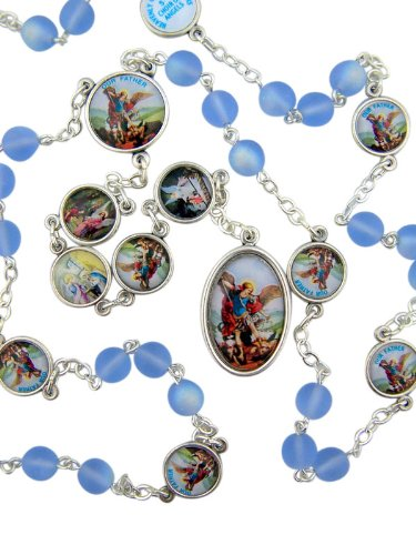 Saint Michael Nine Choirs of Angels Frosted Blue Beads Chaplet with Prayer Card (Rosary St Michael)
