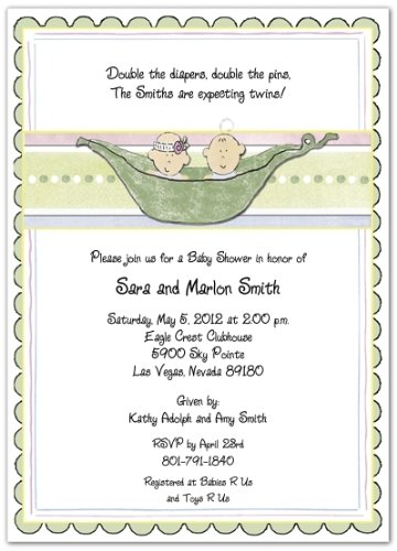 3D 2 Peas In A Pod Mixed Baby Shower Invitations - Set of 20