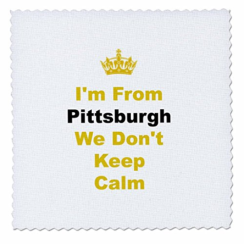 - 3dRose qs_180044_2 Don't Keep Calm, Pittsburgh, Yellow and Black Letters on White Background-Quilt Square, 6 by 6-Inch