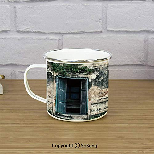 Rustic Decor Enamel Camping Mug Travel Cup,Doors of An Old Rock House with French Frame Details in Countryside European Past Theme,11 oz Practical Cup for Kitchen, Campfire, Home, TravelTeal Grey