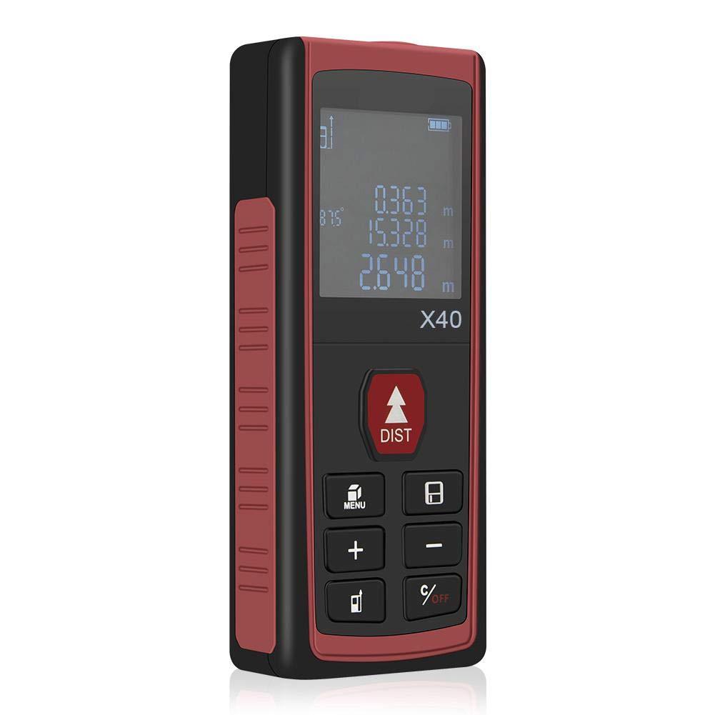 AIHOME Distance Laser numérique Télémètre Laser portatif de Mesure de Distance numérique de mètre de Distance de Laser numérique, Grande capacité de Stockage et Affichage d'angle