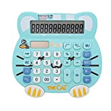 Loghot Adorable Creative 12 Digits Solar Dual Power Cartoon Cat Shape LCD Display Desktop Calculator with Big Screen Water Blue