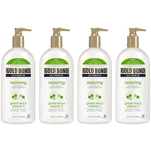 PACK OF 4 - Gold Bond Ultimate Skin Therapy Lotion Restoring Green Tea & Vitamin C, 13 Ounce