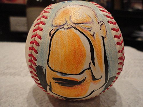 Draper Hill+gerald Ford Hand Signed Al Baseball+coa Full Color Drawing Of Ford