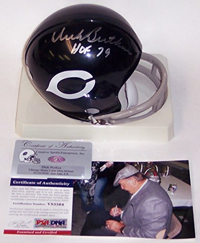 Hand Bears Signed (Dick Butkus Autographed Hand Signed Chicago Bears 2-Bar Mini Football Helmet - with HOF 79 Inscription - PSA/DNA)