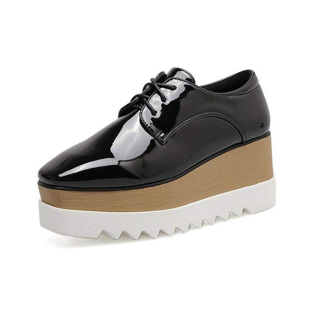 Glänzende Schuhe der Frauen, Frühling / Herbst-starke untere Komfort-Sport-beiläufige Schuhe, Damen-starker Boden erhöhen quadratische Kopf-einzelne Schuhe, Art- und Weiseschuhe, gehende Schuhe Größe:
