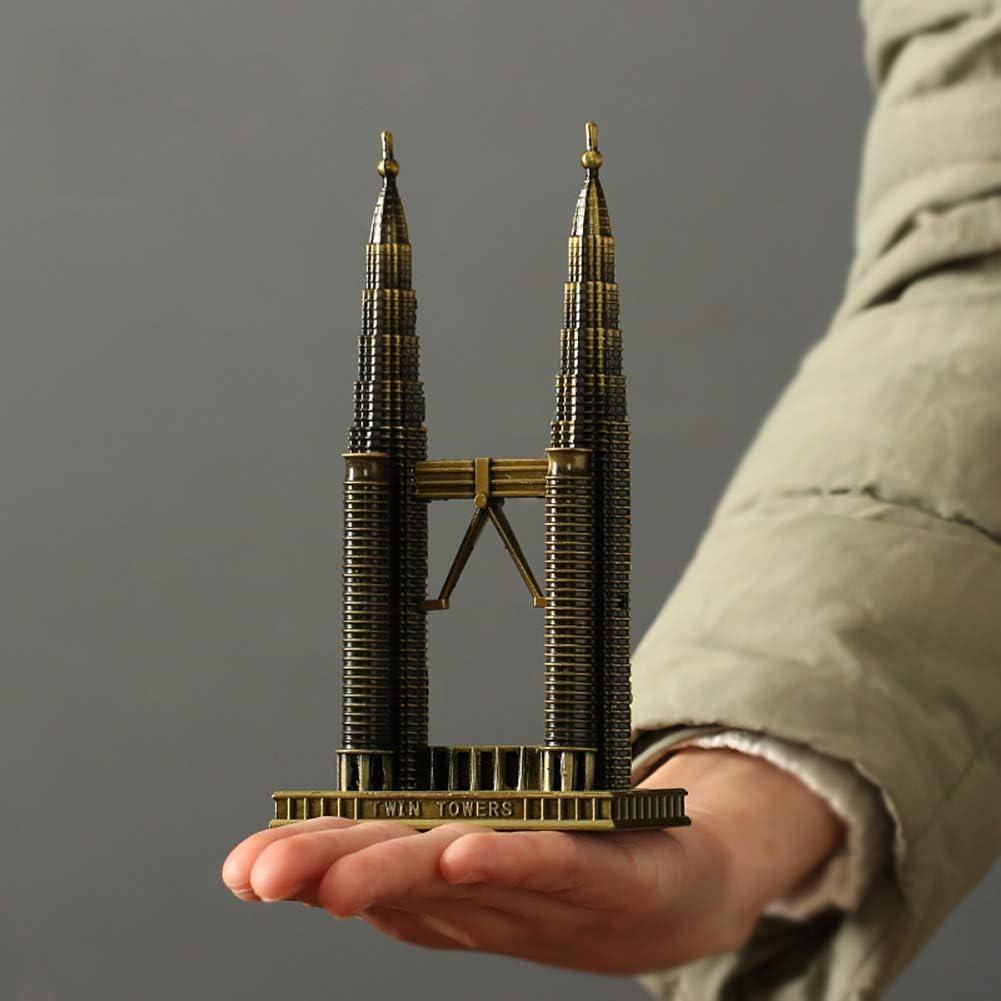 l.e.i. Paris Eiffel Tower Statue,Antique Craft Art Statue Home Decoration Metal Buildings Room Desktop Vintage Architecture Model Ornaments Gift Twin Towers 8.5x4x16cm