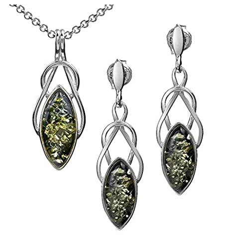 Black Green Amber Sterling Silver Celtic Set Earrings Necklace 18 (Amber And Silver Necklace)