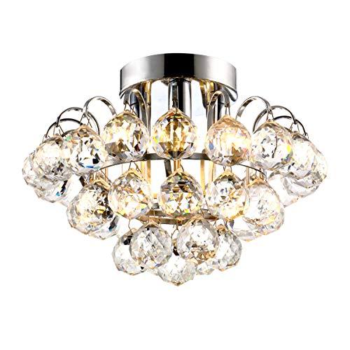 Bjour Modern Crystal Lighting Flush Mount Pendant Lamp Chandelier LED Ceiling Light Fixture for Dining Room Bedroom Living Room