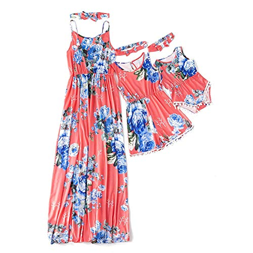Yaffi Mommy and Me Matching Dress Spaghetti Strap Summer Casual Sundress Floral Printed Sleeveless Dress with Headband Red Baby Girl:9-12M (My Mom Made Me Dress Like A Girl)