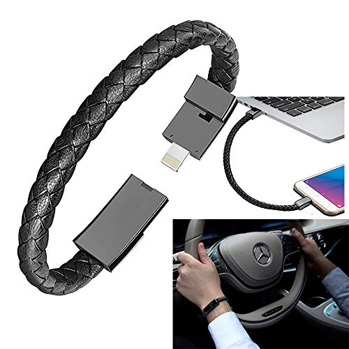 Wisfun Charging Bracelet USB Charging Cable Bracelet Leather Charger Wrist Band Data Charger Cord 8.8inch