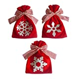 Eve.Ruan Christmas Red Snowflake Theme Bow Drawstring Candy Bags Goodies Bag Plush Doll Toys Party Gift Bags Cookies Dessert Bakery Bags Storage Pockets, Ornaments for Desk Top Decor (B)
