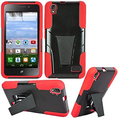 Phone Case for Huawei Vision 3 LTE ( Consumer Cellular ) Red Corner with Rugged Cover Kickstand