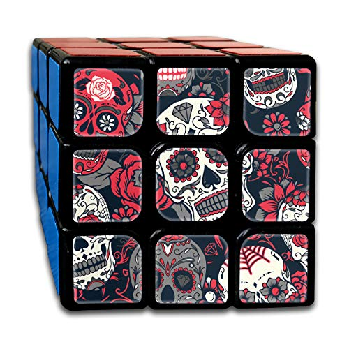 Rubiks Cube by DAIYU Happy Halloween Skull Roses 3x3 Smooth Magic Square Puzzle Game Brain Training Game for Adults -