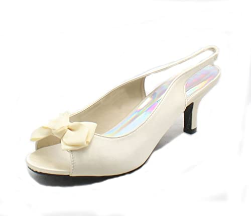 SendIt4Me Silver Satin Peep Toe Court Shoes With Diamante Bow WH0xKBdAXF