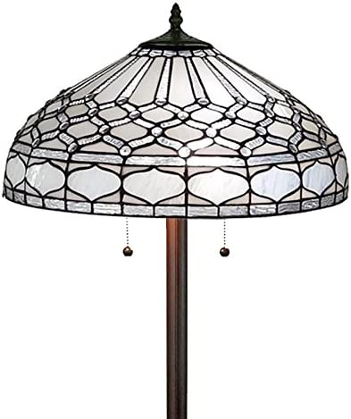 Amora Lighting Tiffany Style Floor Lamp Standing 62 Tall Stained Glass White Mahogany Antique Vintage Light Decor Bedroom Living Room Reading Gift AM222FL18, 18 Inch Diameter