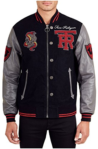 True Religion Collegiate Varsity Jacket w/Leather Sleeves Black/Charcoal (Large) by True Religion